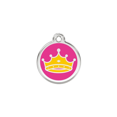 Red Dingo Queen Crown Hot Pink Enamel Stainless Steel Dog ID Tag Small