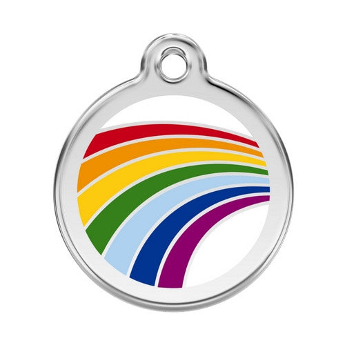 Red Dingo Rainbow Pride Enamel Stainless Steel Dog ID Tag Large