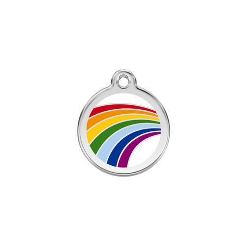 Red Dingo Rainbow Pride Enamel Stainless Steel Dog ID Tag Small