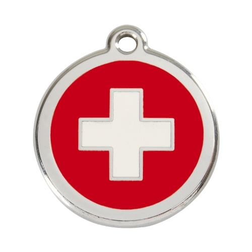 Red Dingo Swiss Cross Enamel Stainless Steel Dog ID Tag Large