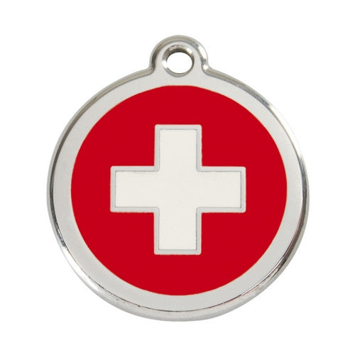 Red Dingo Enamel Stainless Steel National Flag Dog ID Tag Switzerland Large