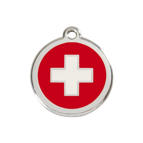 Red Dingo Swiss Cross Enamel Stainless Steel Dog ID Tag Medium