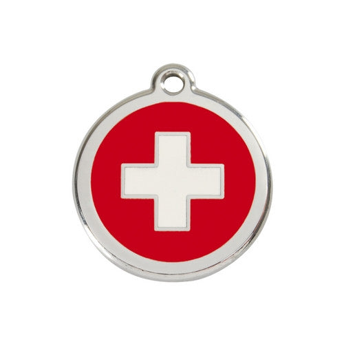 Red Dingo Enamel Stainless Steel National Flag Dog ID Tag Switzerland Medium