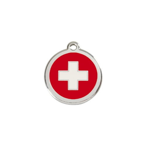 Red Dingo Swiss Cross Enamel Stainless Steel Dog ID Tag Small