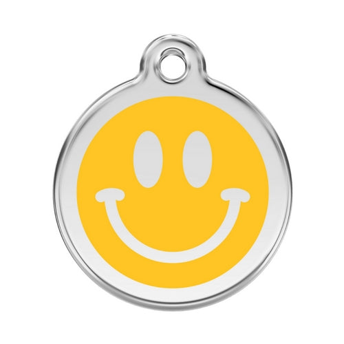 Red Dingo Smiley Face Yellow Enamel Stainless Steel Dog ID Tag Large