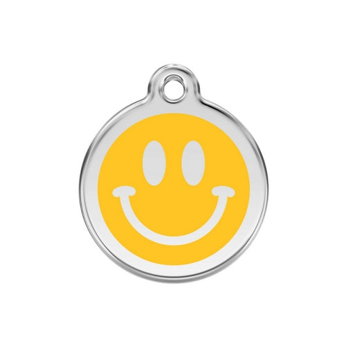 Red Dingo Smiley Face Yellow Enamel Stainless Steel Dog ID Tag Medium