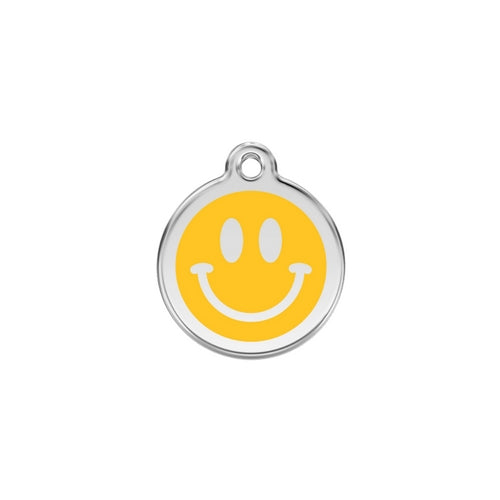 Red Dingo Smiley Face Yellow Enamel Stainless Steel Dog ID Tag Small