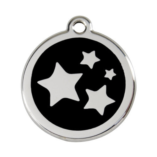 Red Dingo Stars Enamel Stainless Steel Dog ID Tag Black Large
