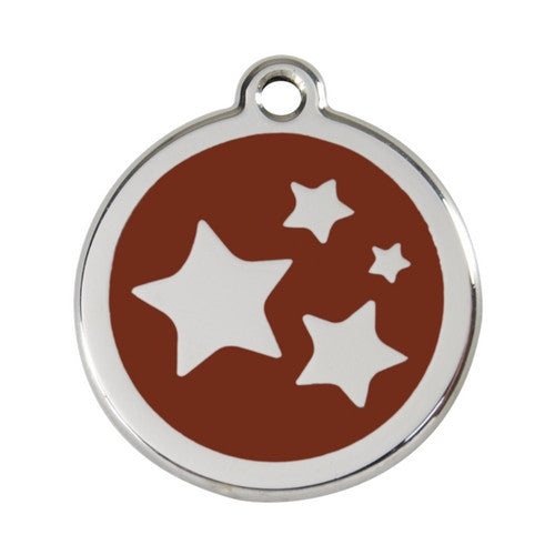 Red Dingo Stars Enamel Stainless Steel Dog ID Tag Brown Large