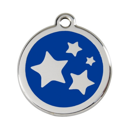 Red Dingo Stars Enamel Stainless Steel Dog ID Tag Dark Blue Large