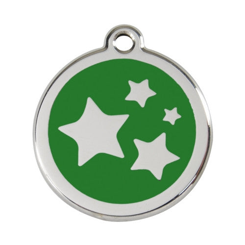 Red Dingo Stars Enamel Stainless Steel Dog ID Tag Green Large