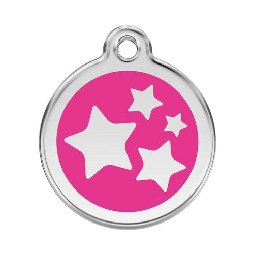 Red Dingo Stars Enamel Stainless Steel Dog ID Tag Hot Pink Large