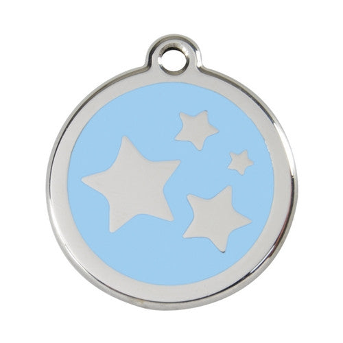 Red Dingo Stars Enamel Stainless Steel Dog ID Tag Light Blue Large