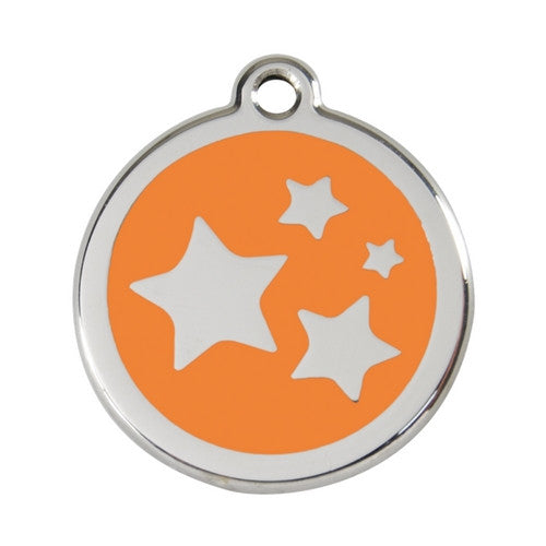 Red Dingo Stars Enamel Stainless Steel Dog ID Tag Orange Large