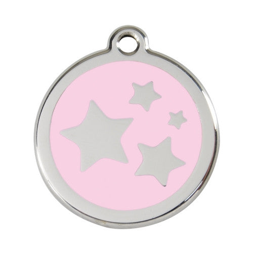 Red Dingo Stars Enamel Stainless Steel Dog ID Tag Pink Large