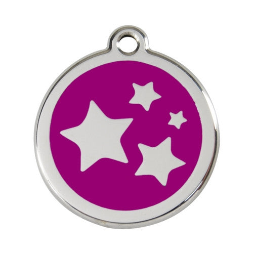 Red Dingo Stars Enamel Stainless Steel Dog ID Tag Purple Large