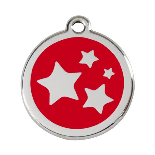 Red Dingo Stars Enamel Stainless Steel Dog ID Tag Red Large