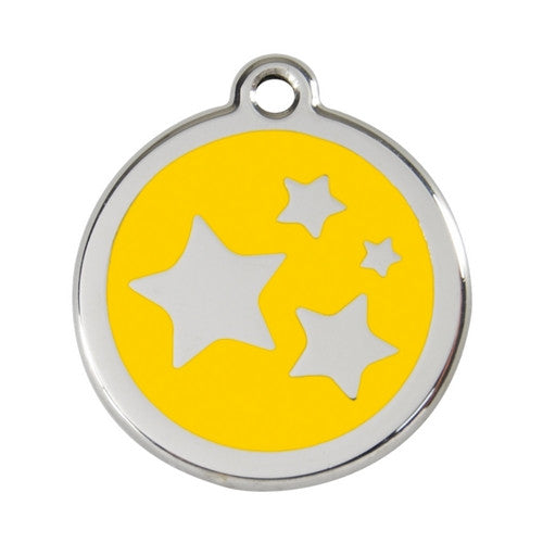 Red Dingo Stars Enamel Stainless Steel Dog ID Tag Yellow Large