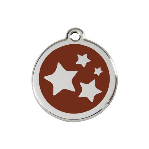 Red Dingo Stars Enamel Stainless Steel Dog ID Tag Brown Medium