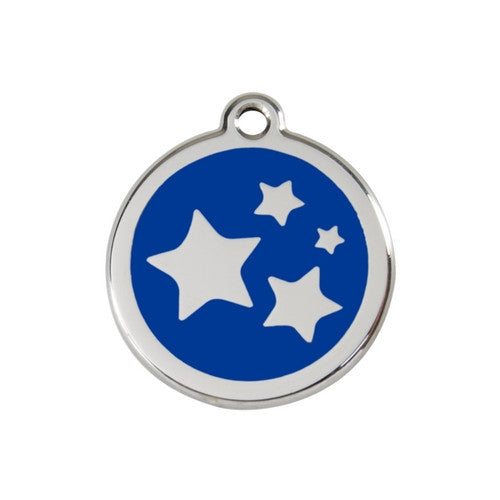 Red Dingo Stars Enamel Stainless Steel Dog ID Tag Dark Blue Medium