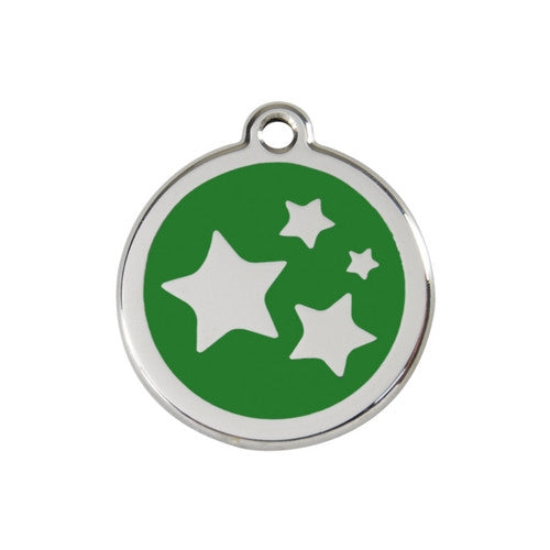 Red Dingo Stars Enamel Stainless Steel Dog ID Tag Green Medium