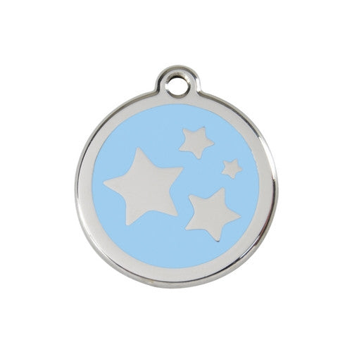 Red Dingo Stars Enamel Stainless Steel Dog ID Tag Light Blue Medium