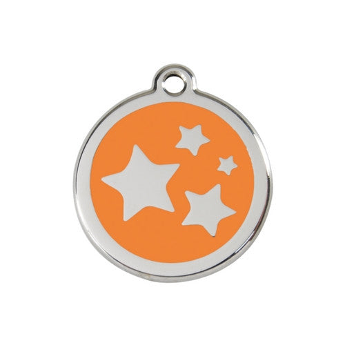 Red Dingo Stars Enamel Stainless Steel Dog ID Tag Orange Medium