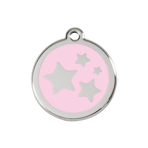 Red Dingo Stars Enamel Stainless Steel Dog ID Tag Pink Medium