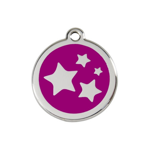 Red Dingo Stars Enamel Stainless Steel Dog ID Tag Purple Medium