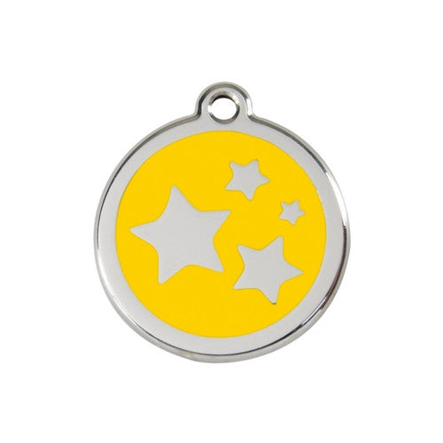 Red Dingo Stars Enamel Stainless Steel Dog ID Tag Yellow Medium