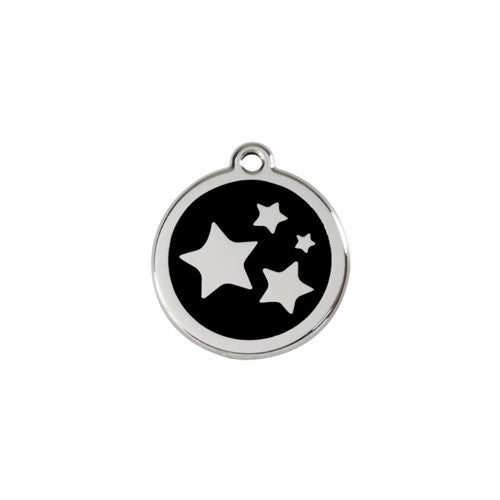 Red Dingo Stars Enamel Stainless Steel Dog ID Tag Black Small
