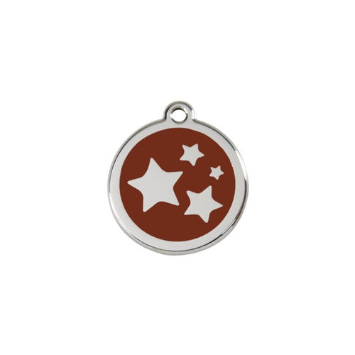 Red Dingo Stars Enamel Stainless Steel Dog ID Tag Brown Small
