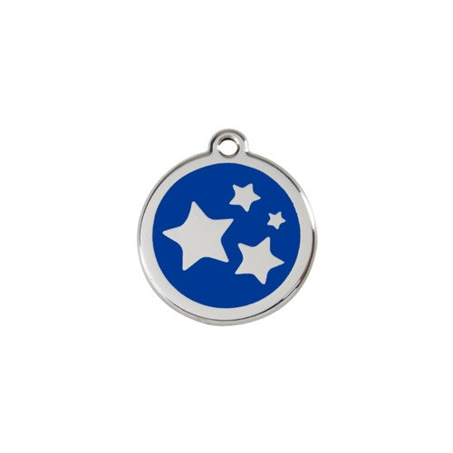 Red Dingo Stars Enamel Stainless Steel Dog ID Tag Dark Blue Small