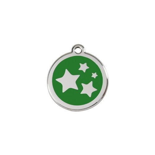 Red Dingo Stars Enamel Stainless Steel Dog ID Tag Green Small