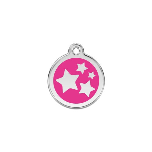 Red Dingo Stars Enamel Stainless Steel Dog ID Tag Hot Pink Small