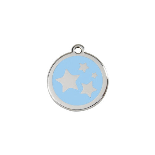 Red Dingo Stars Enamel Stainless Steel Dog ID Tag Light Blue Small