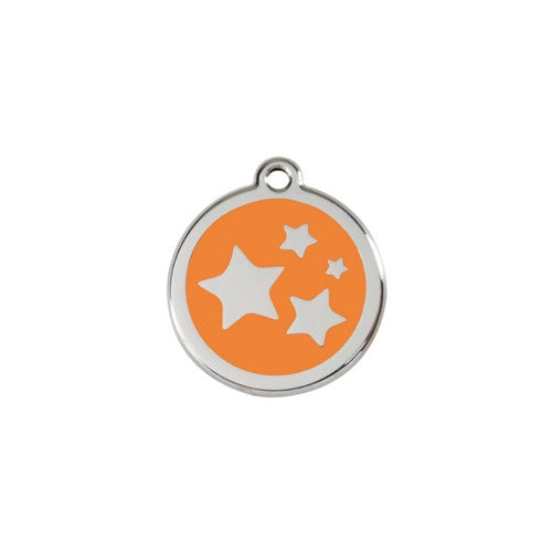 Red Dingo Stars Enamel Stainless Steel Dog ID Tag Orange Small