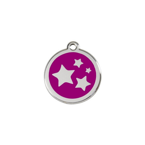 Red Dingo Stars Enamel Stainless Steel Dog ID Tag Purple Small