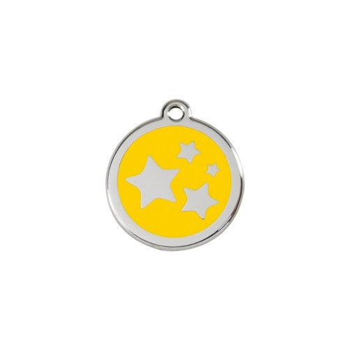 Red Dingo Stars Enamel Stainless Steel Dog ID Tag Yellow Small