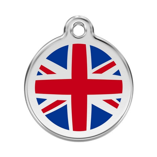 Red Dingo Enamel Stainless Steel National Flag Dog ID Tag United Kingdom Large