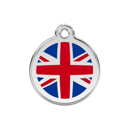 Red Dingo Enamel Stainless Steel National Flag Dog ID Tag United Kingdom Medium