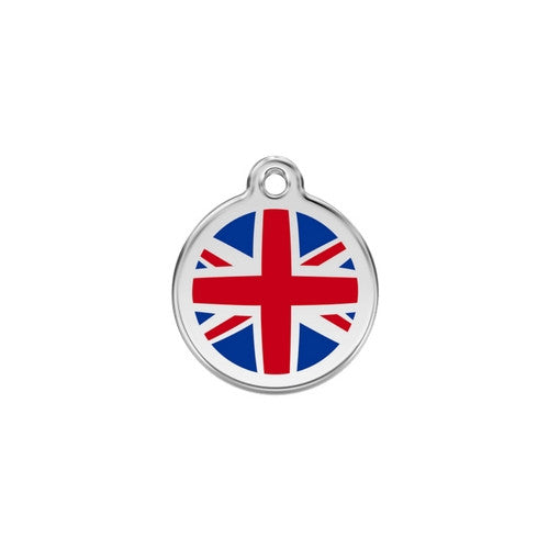 Red Dingo Enamel Stainless Steel National Flag Dog ID Tag United Kingdom Small