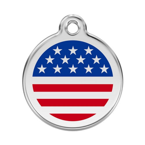 Red Dingo Enamel Stainless Steel National Flag Dog ID Tag United States Large