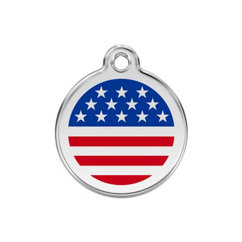 Red Dingo Enamel Stainless Steel National Flag Dog ID Tag United States Medium