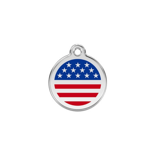 Red Dingo Enamel Stainless Steel National Flag Dog ID Tag United States Small
