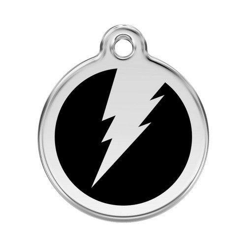 Red Dingo Lightening Bolt Enamel Stainless Steel Dog ID Tag Black Large