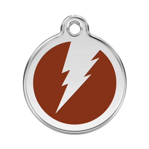 Red Dingo Lightening Bolt Enamel Stainless Steel Dog ID Tag Brown Large