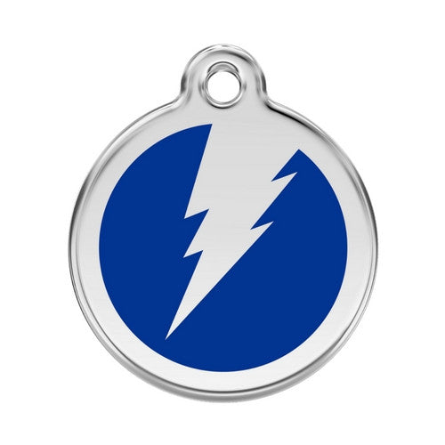 Red Dingo Lightening Bolt Enamel Stainless Steel Dog ID Tag Dark Blue Large