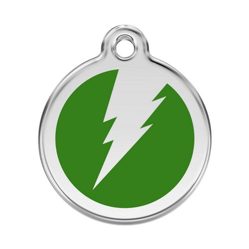 Red Dingo Lightening Bolt Enamel Stainless Steel Dog ID Tag Green Large
