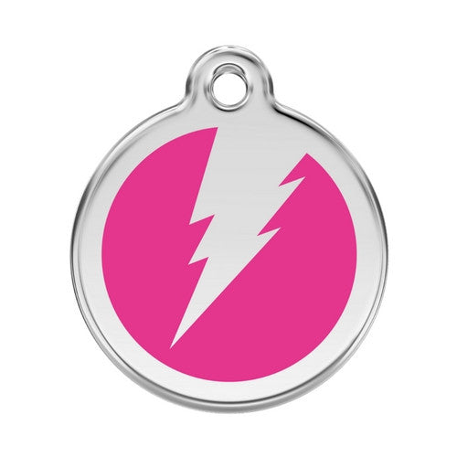 Red Dingo Lightening Bolt Enamel Stainless Steel Dog ID Tag Hot Pink Large